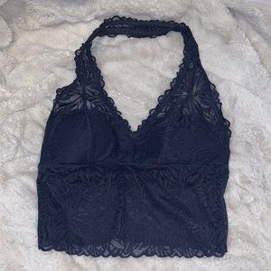 NWOT Aerie long term tank top halter neck padded lace navy bralette size small